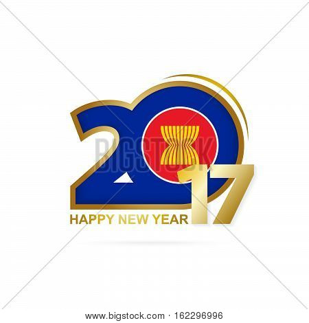 Year 2017 With Asean Flag Pattern. Happy New Year Design On White Background.