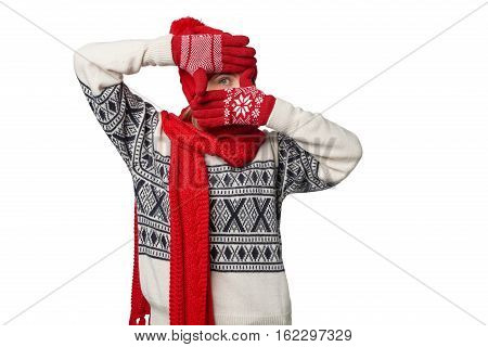 Winter Christmas girl gesturing hand frame over white background