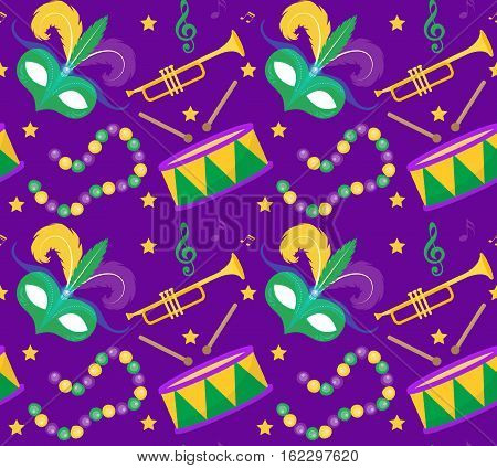 Mardi Gras Carnival seamless pattern with mask feathers, beads. Mardi Gras endless background, texture, wallpaper. Vector illustration