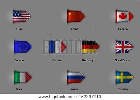 Set of flags in the form of a glossy textured label or bookmark. The unification of Europe and the US China Russia Canada France Germany United Kingdom Italy Sweden. Vector illustration.