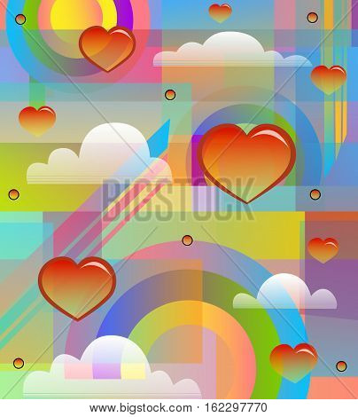 colorful and radiant 80's style design with hearts, clouds and rainbows. Eps10