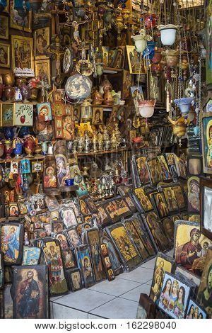 Athens - Greece - September 21,2016:orthodox Church Store In Athens On September 21, 2016. Icons And