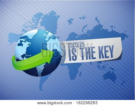 Success Is The Key World Map Sign Concept