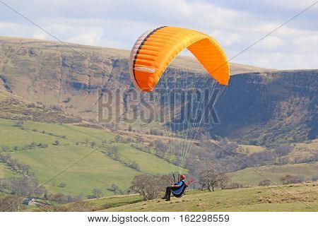 Paaglider flying wing in the Brecon Beacons, Wales