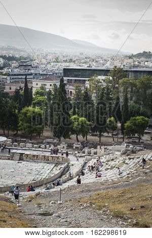 Athens - Greece - September 21,2016:theatro Dionisou Close View In Athens, Greece