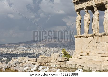Athens - Greece - September 21,2016 : Caryatides At Acropolis, Athens, Greece