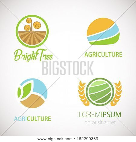 Agro company logo design template. Vector landscape icon. Agriculture abstract logotype. Vector nature symbol