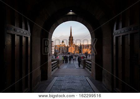 Edinburgh UK - November 04 2016: View on the Edinburgh International Festival centre and Esplanade from the Castle entrance