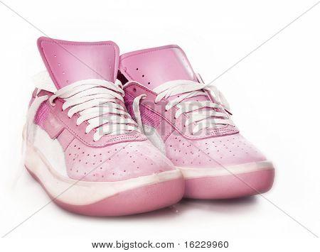 Pink ladies women's sport fashion sneaker trainer shoe soft focus.