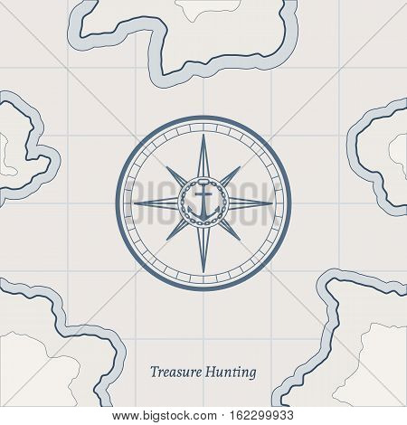 Treasure paper map with islands. Vector background for game interface