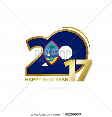 Year 2017 With Guam Flag Pattern. Happy New Year Design On White Background.