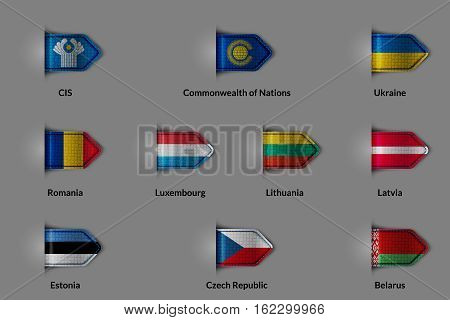 Set of flags in the form of a glossy textured label or bookmark. CIS Commonwealth of Nations Ukraine Romania Luxembourg Lithuania Latvia Estonia Czech Republic Belorus. Vector illustration.