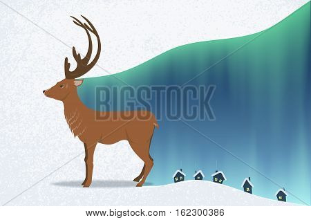 reindeer and Northern lights. grunge background. houses in the snow. branched horns. the smoke from the chimney. vector illustration.