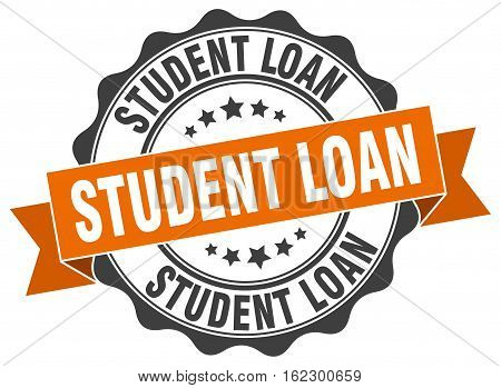 student loan. stamp. sign. seal. round. retro. ribbon