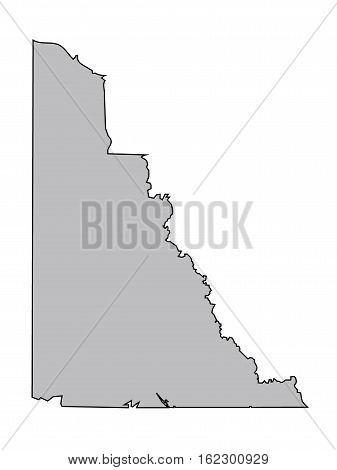 Stylised Vector Yukon Canada Territory Map Grey
