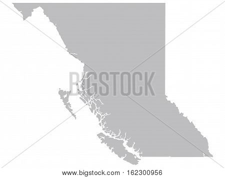 Stylised Vector British Columbia Canada Territory Map Grey