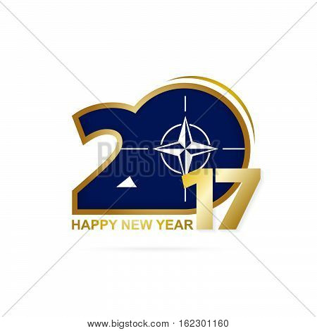 Year 2017 With Nato Flag Pattern. Happy New Year Design On White Background.