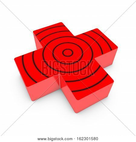 Red cross with circles on top lies down on white isolated background. 3D render.