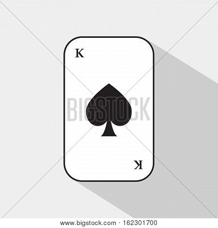 Poker Card. Spade King. White Background To Be Easily Separable.
