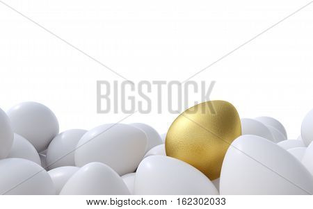 Golden egg standing out from the others. 3D render.