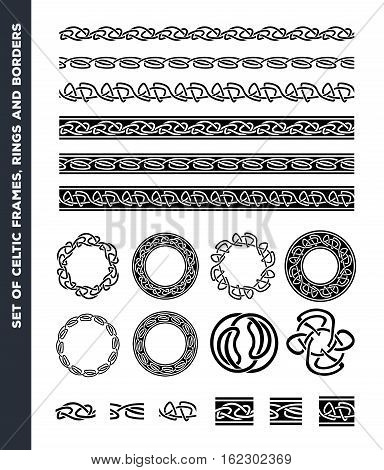 Illustration of a set of black and white celtic seamless lines borders rings and ornaments for frame and tattoos with separated patterns detail