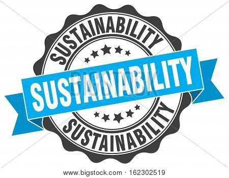sustainability. stamp. sign. seal. round. retro. ribbon