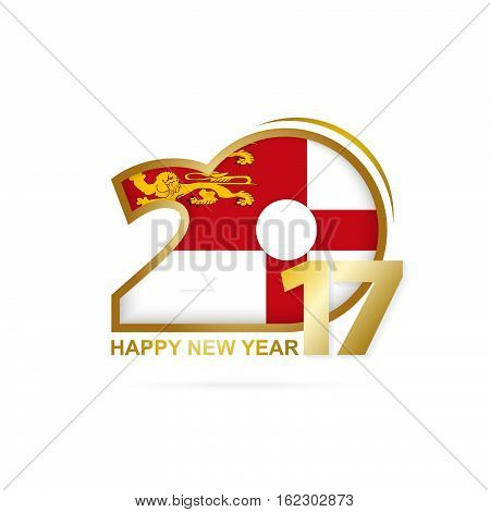 Year 2017 With Sark Flag Pattern. Happy New Year Design On White Background.