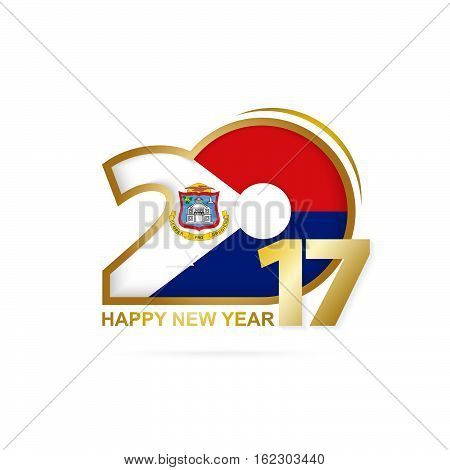 Year 2017 With Sint Maarten Flag Pattern. Happy New Year Design On White Background.