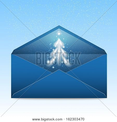 New Year blue envelope with stars and blizzard