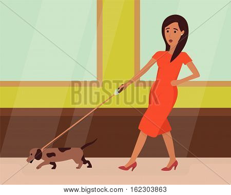 Woman on heels walking with hurry dog. Flat design vector illustration