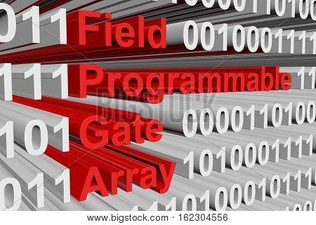 Field Programmable Gate Array in a binary code 3D illustration