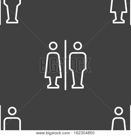 Man & Woman Restroom Icon Sign. Seamless Pattern On A Gray Background. Vector