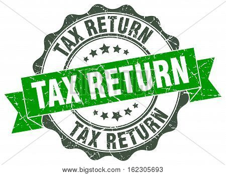 tax return. stamp. sign. seal. round. retro. ribbon