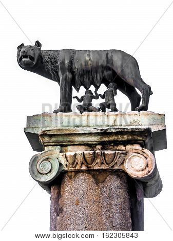 The Capitoline Wolf: Statue of the she-wolf suckling Romulus (founder of Rome) and Remus: the icon of the founding of the city of Rome Italy