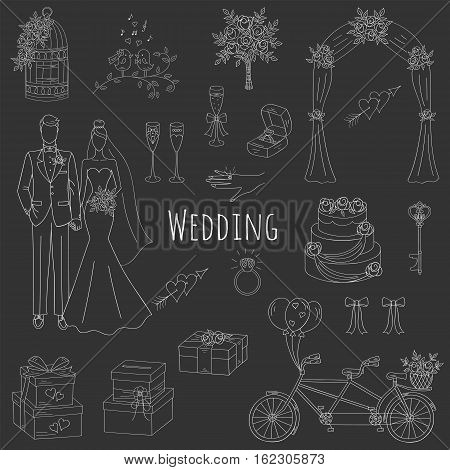 Vector set of hand drawn wedding icons bride, groom, wedding cake, bicycle, bouquet, ring, arch, gift box, birdcage isolated doodle sketch illustrations.