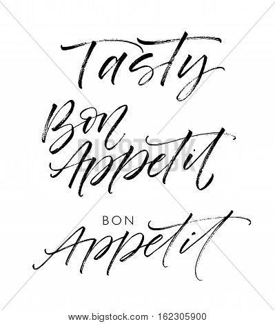 Tasty and bon appetit phrases. Ink illustration. Modern brush calligraphy. Isolated on white background.