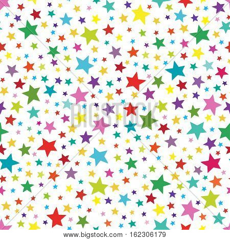 Seamless simple pattern with colorful stars. Seamless pattern can be used for wallpapers, textile, surface textures.