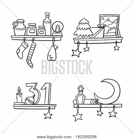 Cartoon christmas ornaments and decoration on a shelf. Vector illustration.
