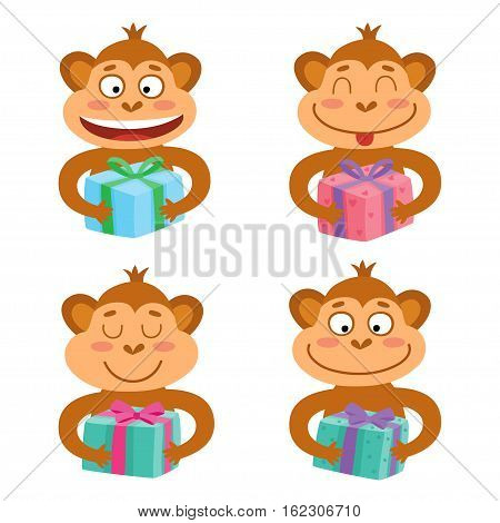 Vector set with monkey emotion faces with gifts. Cute little monkeys.