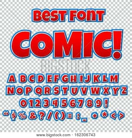 Comic alphabet set. Letters numbers and figures for kids' illustrations websites comics banners.