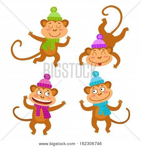 Vector set with funny monkeys. Cute little monkeys isolated on white