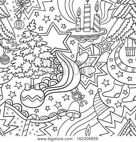 Vector Christmas winter seamless illustration of Christmas trees stars, candles and other frippery. Suitable for fabric, wallpaper, wrapping paper.