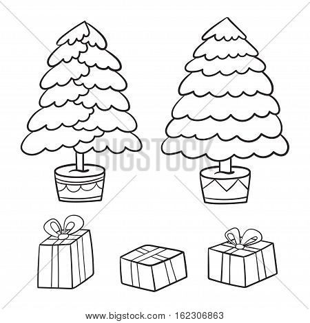 Christmas tree and  presents collection. Vector illustration of cartoon gifts in bag isolated on white with different tree.