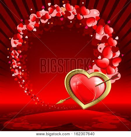 Red design with a silhouette of a heart with an arrow and a set of red hearts of various sizes with space for phototext