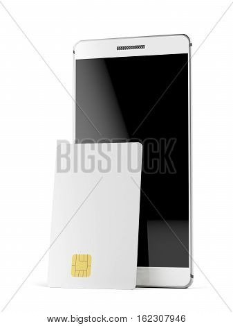 Blank bank or telephone card and smartphone on white background, 3D illustration