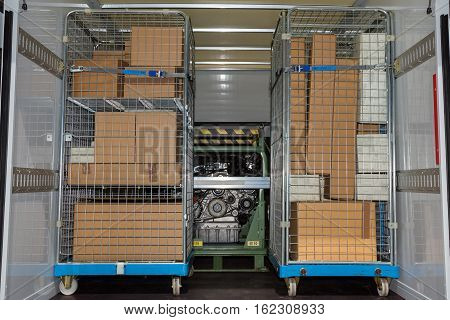 Packages and equipment in a delivery van