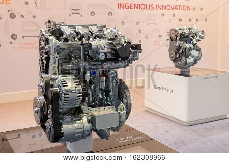 HANNOVER GERMANY - SEP 21 2016: New Renault diesel engines on display at the International Motor Show for Commercial Vehicles.
