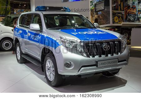 HANNOVER GERMANY - SEP 21 2016: German Police Toyota Land Cruiser on display at the International Motor Show for Commercial Vehicles.