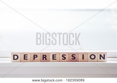 Depression Word Made Om Wooden Cubes