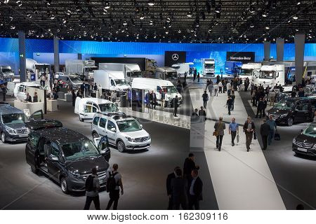 HANNOVER GERMANY - SEP 21 2016: View on the Mercedes-Benz hall at the International Motor Show for Commercial Vehicles.